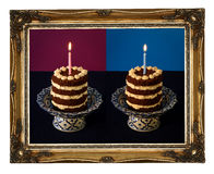 Chocolate Birthday Cake Burning Candle Golden Carved Frame Royalty Free Stock Photography
