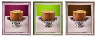 Chocolate Birthday Cake Burning Candle Golden Carved Frame Stock Photography