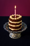 Chocolate Birthday Cake Burning Candle Royalty Free Stock Photos