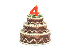 Chocolate Birthday cake with candle number 4, 3D rendering. Isolated on white background Stock Photography