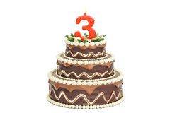 Chocolate Birthday cake with candle number 3, 3D rendering. Isolated on white background Stock Photo