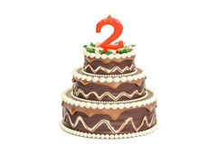 Chocolate Birthday cake with candle number 2, 3D rendering. Isolated on white background Stock Photos