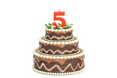Chocolate Birthday cake with candle number 5, 3D rendering. Isolated on white background Royalty Free Stock Images