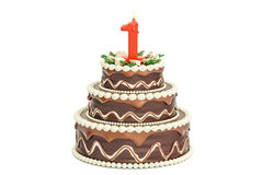 Chocolate Birthday cake with candle number 1, 3D rendering. Isolated on white background Stock Photos