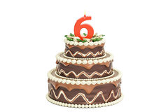 Chocolate Birthday cake with candle number 6, 3D rendering. Isolated on white background Royalty Free Stock Photos