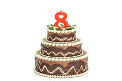 Chocolate Birthday cake with candle number 8, 3D rendering. Isolated on white background Royalty Free Stock Images
