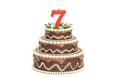 Chocolate Birthday cake with candle number 7, 3D rendering. Isolated on white background Royalty Free Stock Photography
