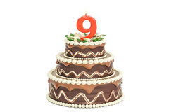 Chocolate Birthday cake with candle number 9, 3D rendering. On white background Royalty Free Stock Photography