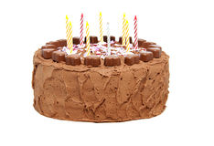 Chocolate birthday cake with candles Royalty Free Stock Photos
