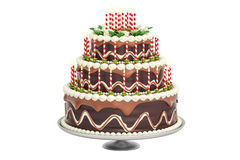 Chocolate Birthday Cake with candles on stand, 3D rendering Royalty Free Stock Images