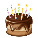 Chocolate birthday cake with candles. Vector illustration. Stock Photo