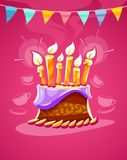 Chocolate birthday cake with cream burning candles Royalty Free Stock Photos