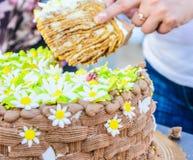 Chocolate birthday cake Stock Images