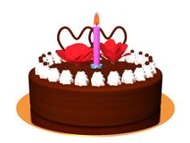 Chocolate Birthday Cake_Raster Royalty Free Stock Image