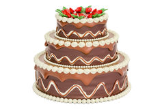 Chocolate Birthday Cake, 3D rendering. On white background Royalty Free Stock Photos