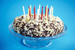 Chocolate birthday cake with flaked almonds Stock Image