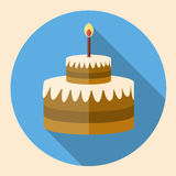 Chocolate Birthday cake flat icon with long shadow. Cake symbol. Vector illustration Stock Image