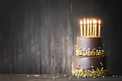 Chocolate birthday cake stock photos