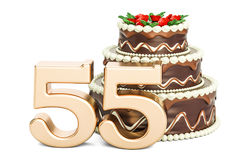 Chocolate Birthday cake with golden number 55, 3D rendering. Isolated on white background Stock Image