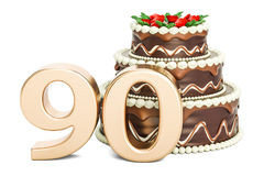 Chocolate Birthday cake with golden number 90, 3D rendering. Isolated on white background Stock Image