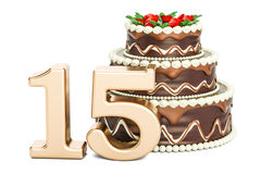 Chocolate Birthday cake with golden number 15, 3D rendering. Isolated on white background Royalty Free Stock Photography