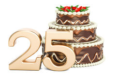 Chocolate Birthday cake with golden number 25, 3D rendering. Isolated on white background Royalty Free Stock Photos