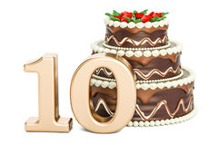 Chocolate Birthday cake with golden number 10, 3D rendering. Isolated on white background Royalty Free Stock Photo