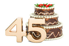 Chocolate Birthday cake with golden number 45, 3D rendering. Isolated on white background Stock Images
