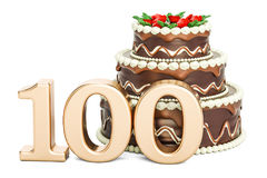Chocolate Birthday cake with golden number 100, 3D rendering. Isolated on white background Stock Images