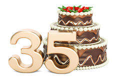 Chocolate Birthday cake with golden number 35, 3D rendering. Isolated on white background Royalty Free Stock Images
