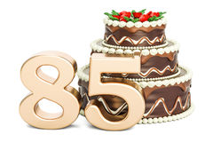 Chocolate Birthday cake with golden number 85, 3D rendering. Isolated on white background Royalty Free Stock Images