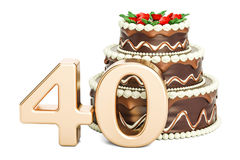 Chocolate Birthday cake with golden number 40, 3D rendering. Isolated on white background Stock Photos