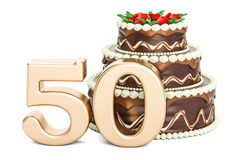 Chocolate Birthday cake with golden number 50, 3D rendering. On white background Stock Image