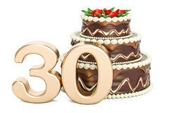 Chocolate Birthday cake with golden number 30, 3D rendering. On white background Stock Photo