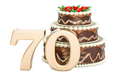 Chocolate Birthday cake with golden number 70, 3D rendering Stock Images