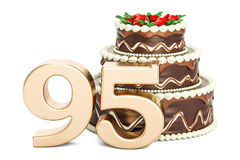 Chocolate Birthday cake with golden number 95, 3D rendering. On white background Stock Photos