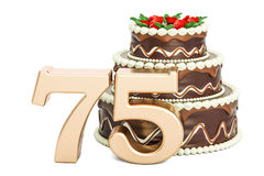 Chocolate Birthday cake with golden number 75, 3D rendering. On white background Stock Images