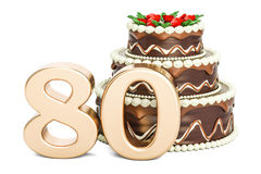 Chocolate Birthday cake with golden number 80, 3D rendering. On white background Stock Photo