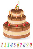 Chocolate birthday cake with numbers of age vector Royalty Free Stock Photo