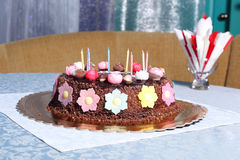 Chocolate birthday cake Royalty Free Stock Photos