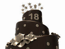 Chocolate birthday cake - 18 years. 3D render illustration of a dark chocolate birthday cake with the number 18 positioned near the top of the cake. The object Royalty Free Stock Image