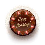 Chocolate birthday pie with strawberries Royalty Free Stock Photo