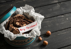 Chocolate biscotti with hazelnuts in vintage metal box Stock Photography