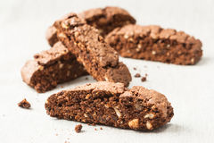 Chocolate biscotti pieces Royalty Free Stock Photos