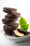 Chocolate Biscuit Cookies. On white plate stock image