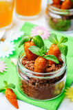 Chocolate biscuit in a jar and dried apricots cashew candies in Stock Photo