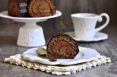 Chocolate biscuit roll. Stock Photography