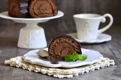 Chocolate biscuit roll. Royalty Free Stock Photo