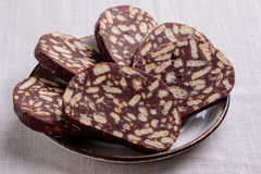 Chocolate biscuit salami Royalty Free Stock Photos