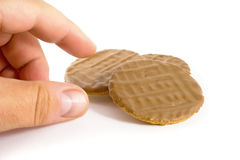 Chocolate Biscuit Temptation Royalty Free Stock Images